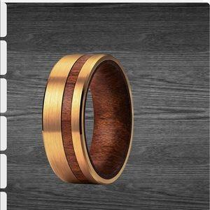 Men's Wedding Band: tungsten 14K koa wood inlay